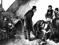 Gemälde einer Hausdurchsuchung im späten 19. Jahrhundert